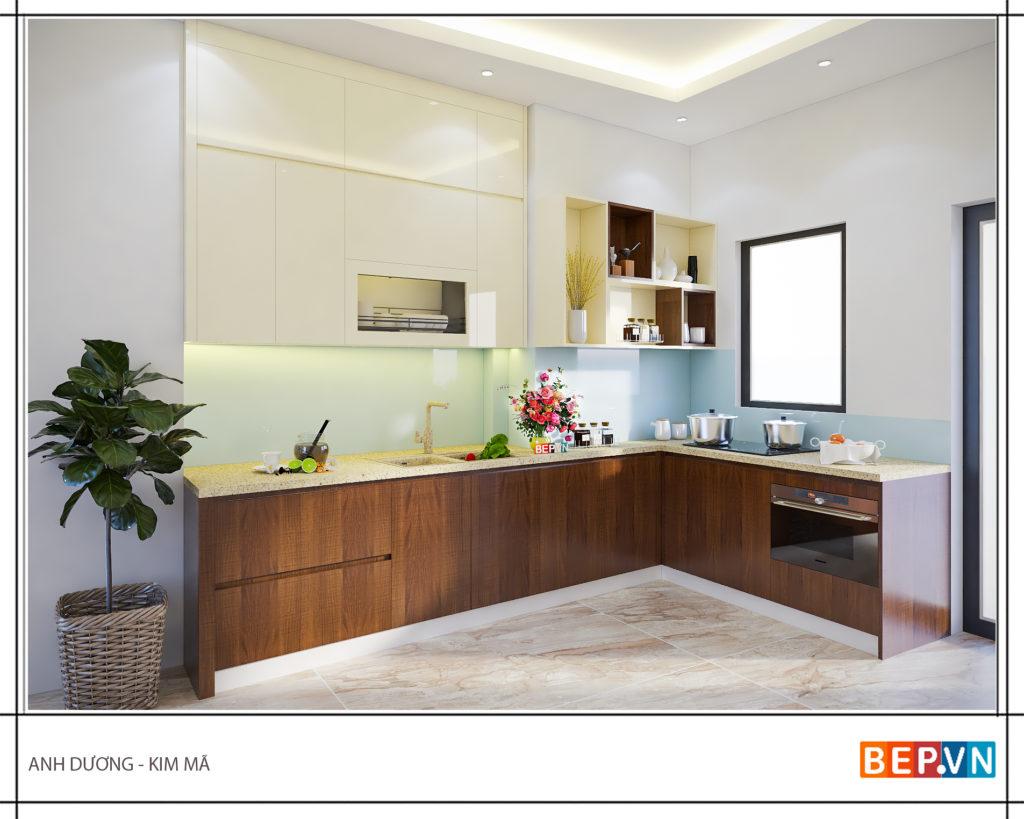 Thiết kế tủ bếp tối giản không gian lưu trữ