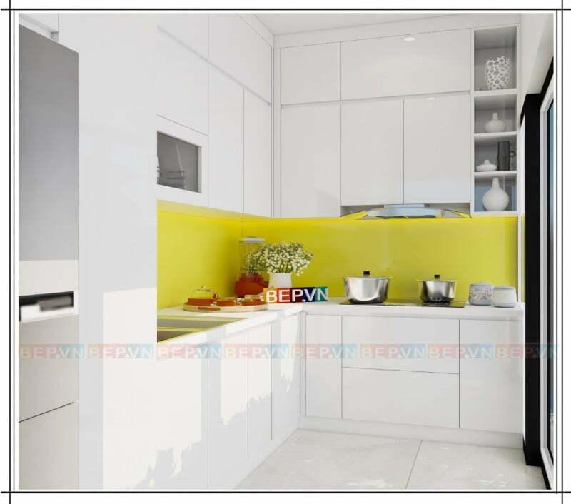 Tủ bếp Acrylic chữ L màu trắng ốp trần