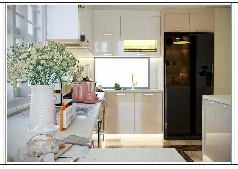 Tủ bếp Acrylic chữ U có bàn đảo bếp đẹp.