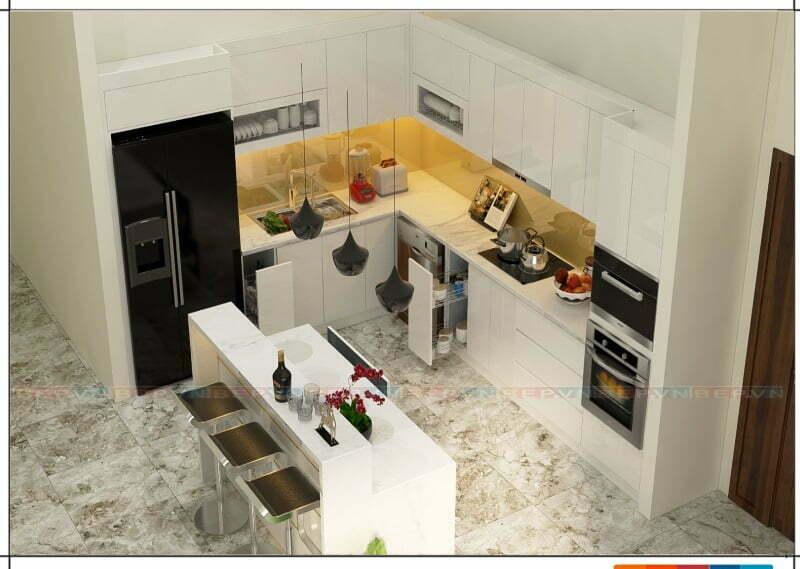 Tủ bếp đảo màu trắng có chức năng lưu trữ và mang lại giá trị thẩm mỹ cho căn bếp
