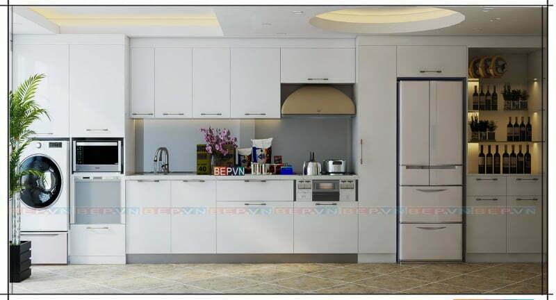 Tủ bếp thẳng kết hợp tủ rượu và tủ kho hiện đại.