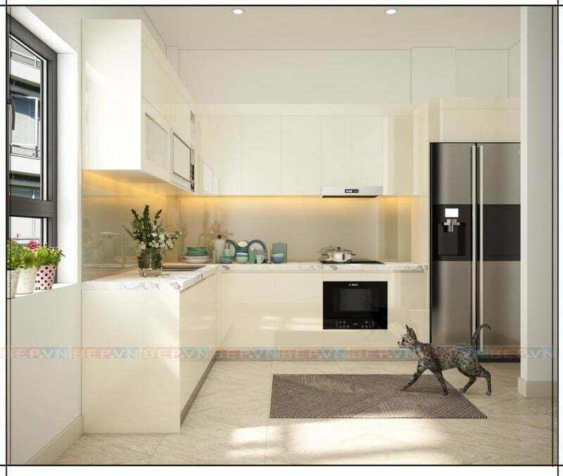 Gọn gàng, sạch sẽ và thoáng đãng là những gì bạn nhận được từ tủ bếp màu trắng.