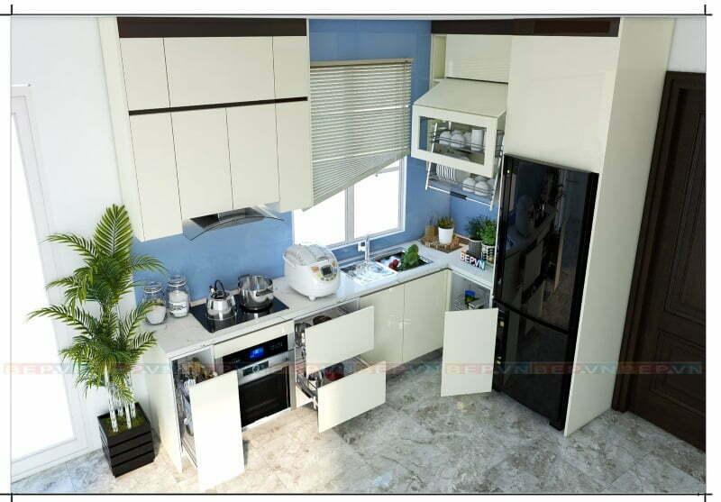 Hệ thống tủ bếp trắng tràn đầy năng lượng và sức sống.