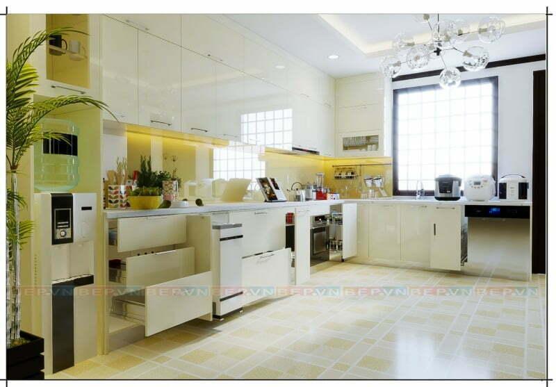 Không gian bếp nhận được sự hài lòng tuyệt đối của gia chủ từ màu sắc đến chất liệu và kiểu dáng của tủ bếp.
