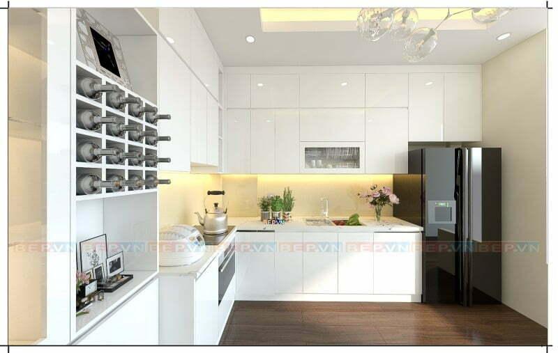 Thiết kế tủ bếp chữ L ốp trần với màu trắng sáng luôn là lựa chọn tối ưu phù hợp mọi không gian.