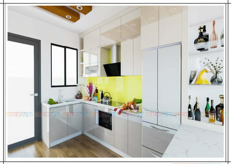 Lưu trữ đồ đạc không giới hạn với thiết kế tủ bếp chữ U ốp trần màu trắng bóng gương
