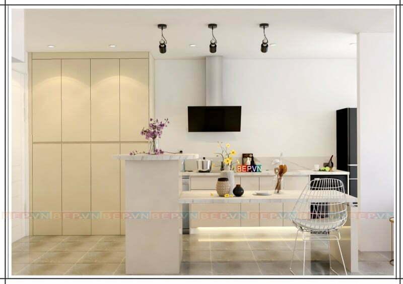 Tủ bếp trắng tối giản phong cách thanh lịch cuốn hút.