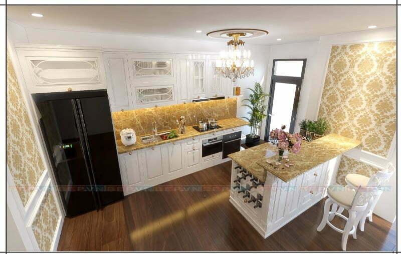 Phong cách tân cổ điển trong thiết kế tủ bếp trắng.