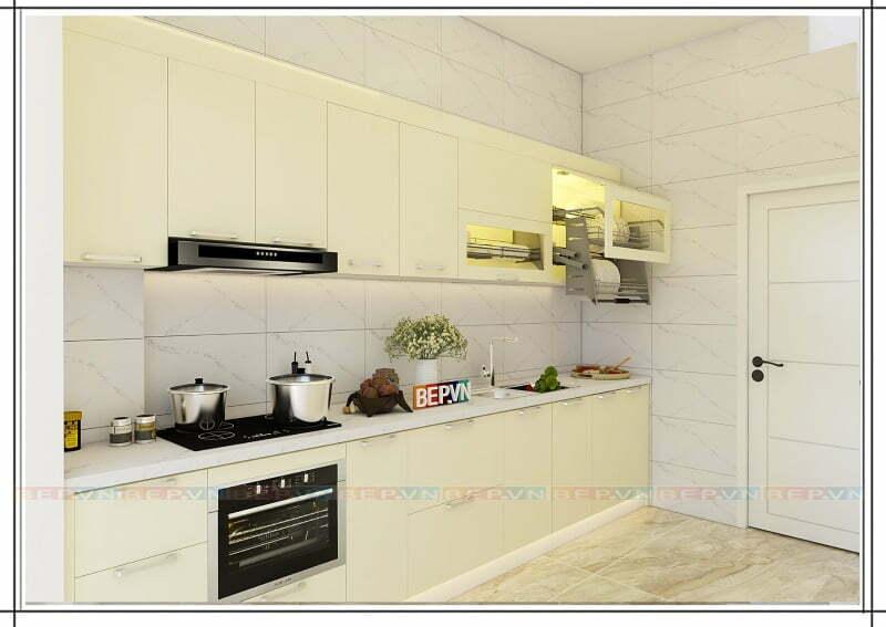 Tủ bếp thẳng màu trắng gia đình chú Thuần