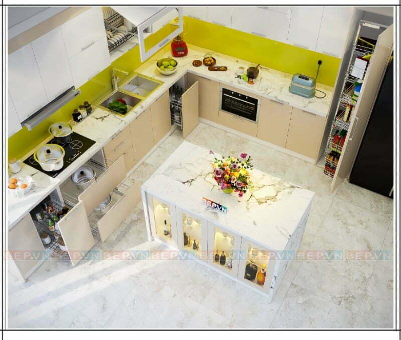 Màu trắng của tủ bếp phù hợp với màu gạch lát sàn nhà giúp căn bếp trông gọn gàng và hài hòa.