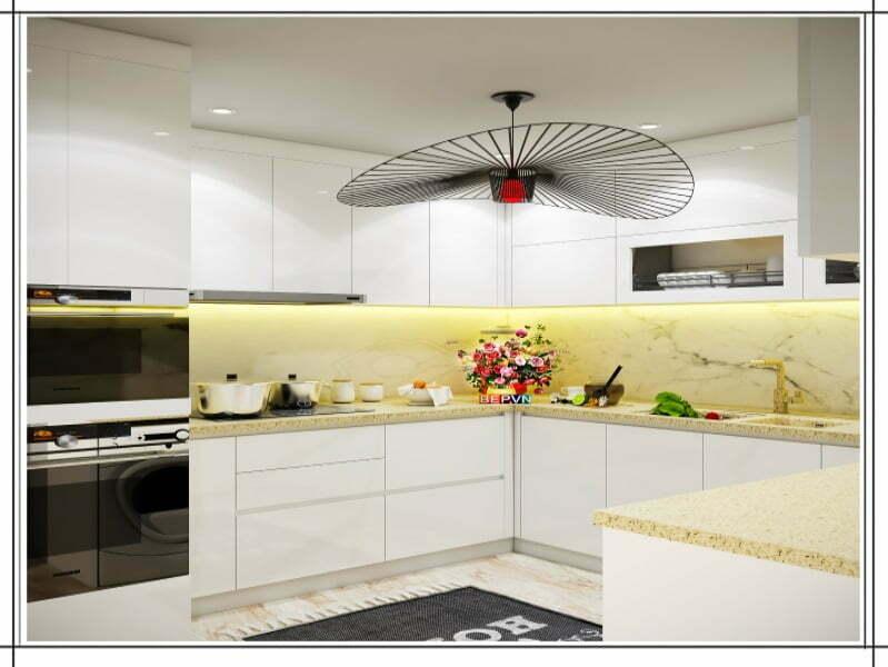 Căn bếp với bàn bếp bằng đá LG hiện đại và sang trọng phù hợp hoàn hảo với hệ tủ bếp màu trắng.