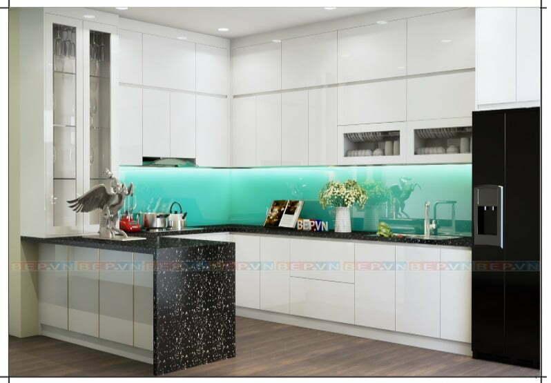 Tủ bếp có bàn đảo với chức năng như một quầy bar