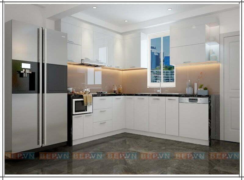 Tủ bếp trắng chữ L chất liệu Acrylic