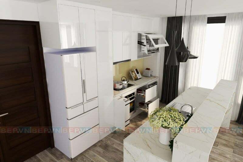 Tủ bếp đảo Acrylic trắng bóng gương có thiết kế bàn đảo độc đáo, ấn tượng.