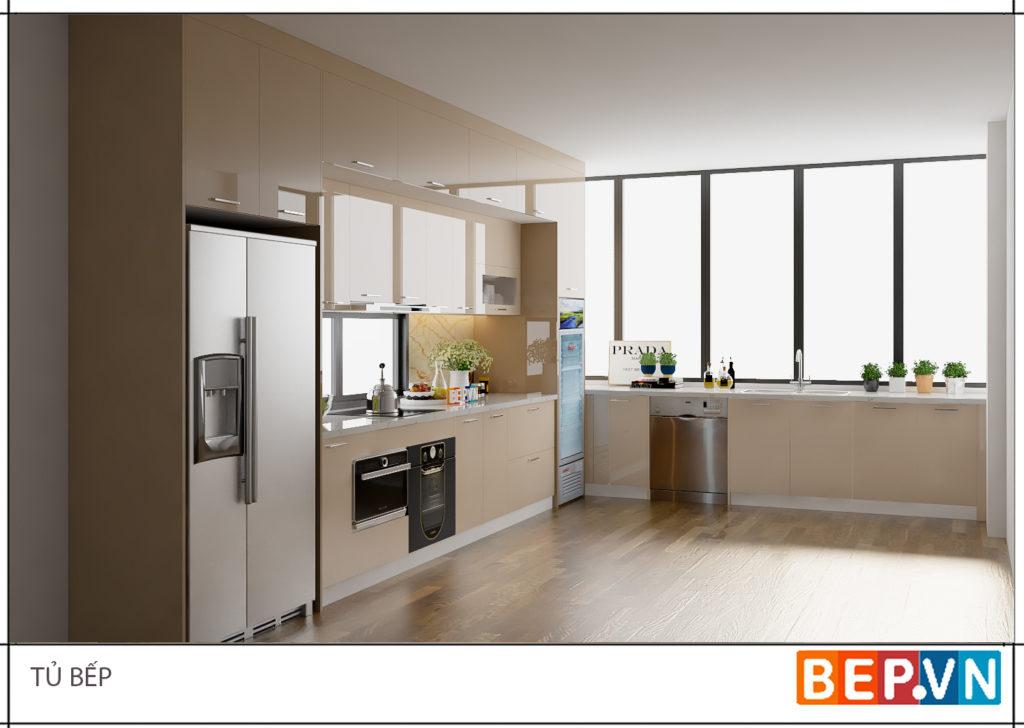 Phòng bếp có cửa sổ mang lại ánh sáng tự nhiên.