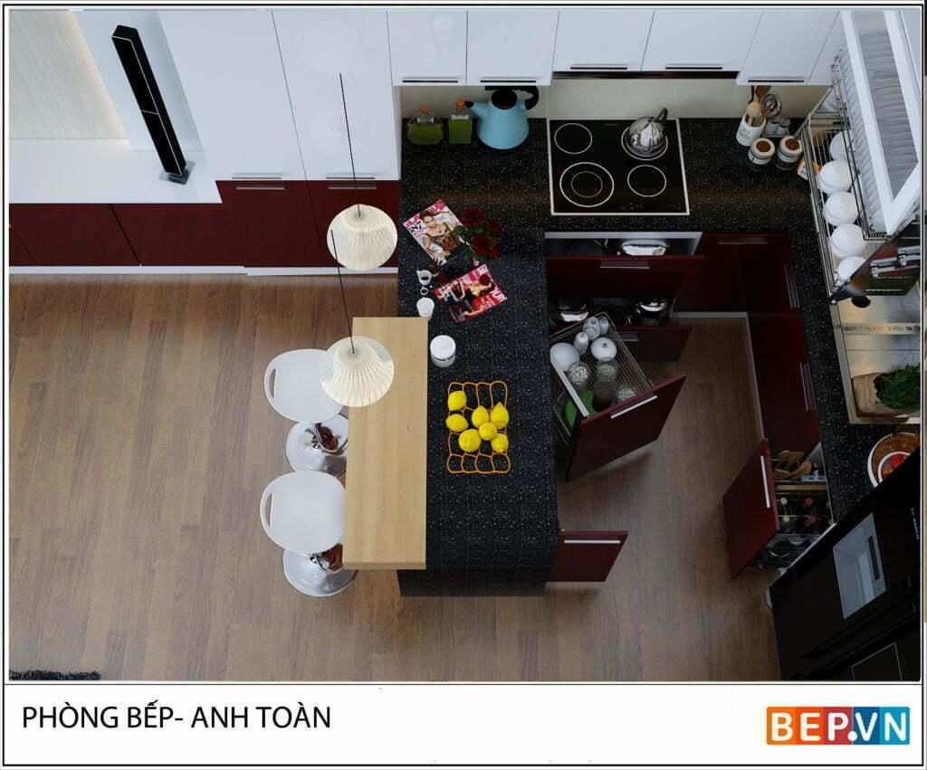 Tủ bếp Acrylic chữ U gia đình anh Toàn-Thổ quan- hanoi