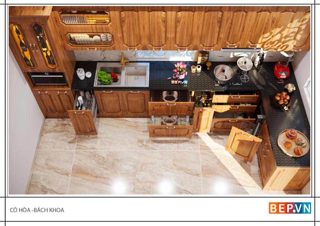Mẫu tủ bếp gỗ sồi- 50+mẫu tủ bếp đẹp cho nhà nhỏ
