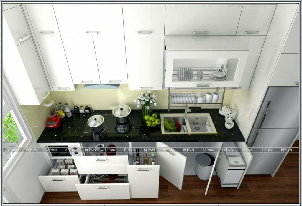 Mẫu tủ bếp đẹp tiện nghi kiểu chữ i