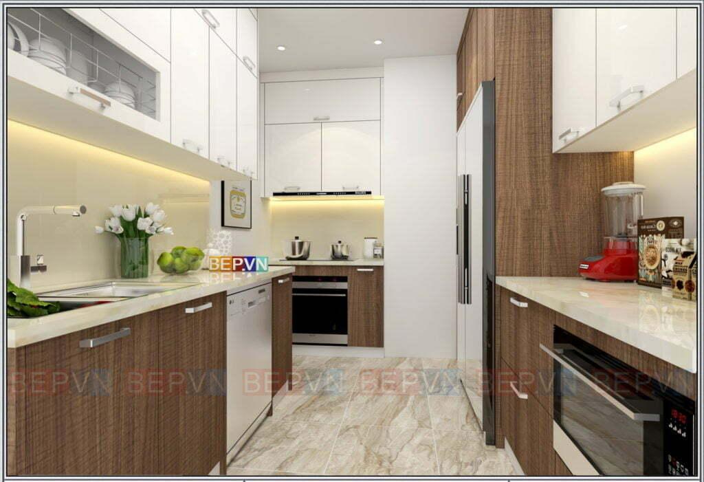 Mẫu thiết kế phòng bếp đẹp được chị em thích thú với những ưu điểm nổi bật