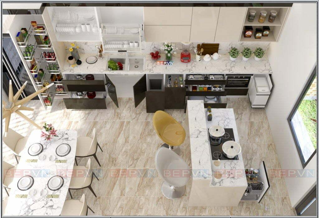 Mẫu tủ bếp đẹp cho nhà bếp rộng, thông thoáng