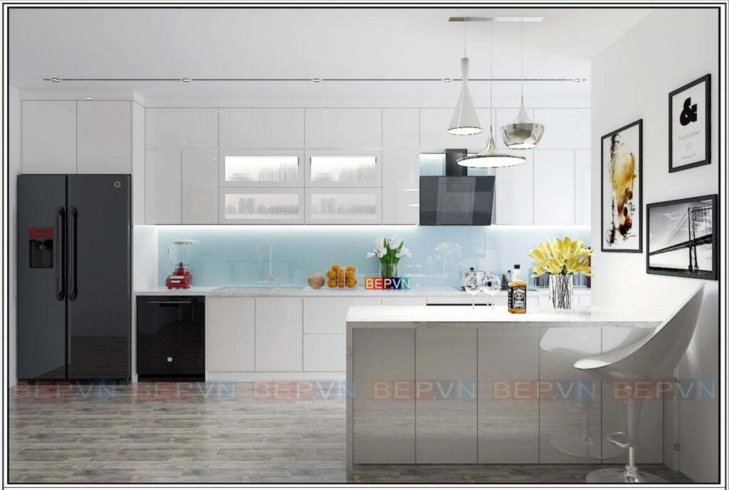 Mẫu tủ bếp đẹp, hiện đại, thanh lịch và sang trọng với gam màu trắng tinh khôi