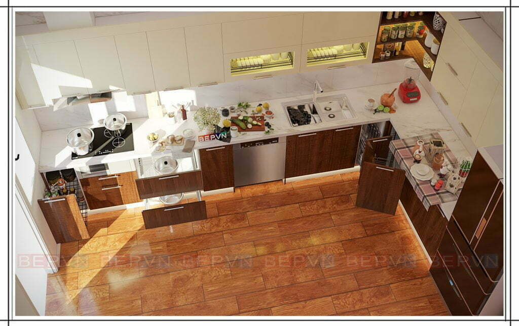 Mẫu tủ bếp đẹp hiện đại kiểu chữ L