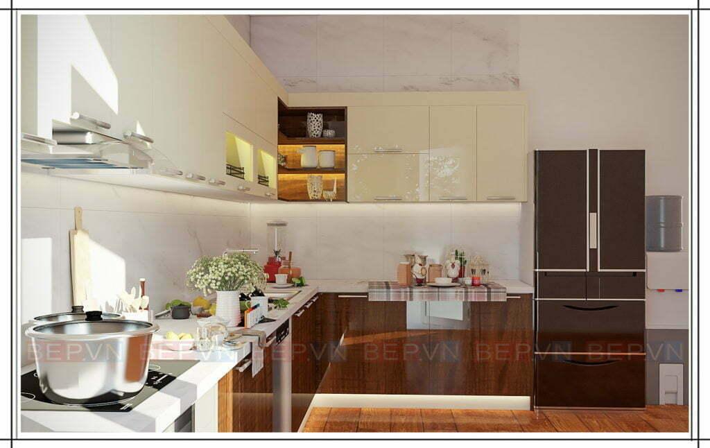 Mẫu tủ bếp đẹp kết hợp giữa hai chất liệu Laminate và Acrylic bóng gương