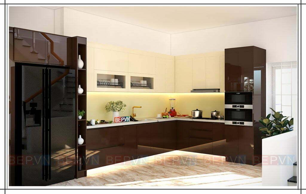 Mẫu tủ bếp đẹp, hiện đại kiểu chữ L phù hợp với mọi không gian, diện tích