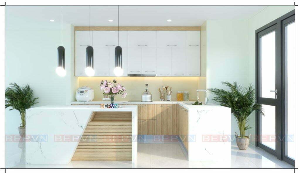Mẫu thiết kế tủ bếp đơn giản, nhẹ nhàng và hiện đại với đảo bếp