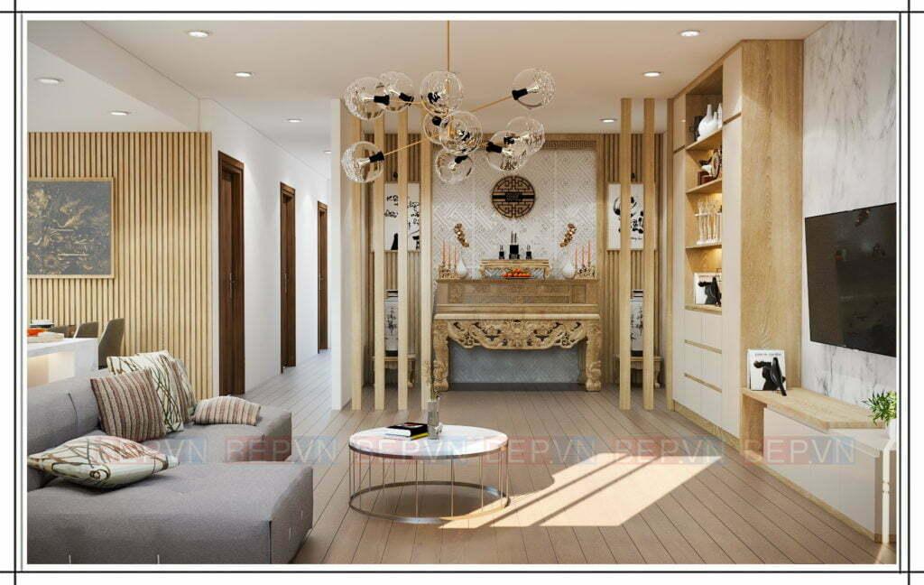 thiết kế phòng thờ giản dị, mộc mạc mà trang nghiêm