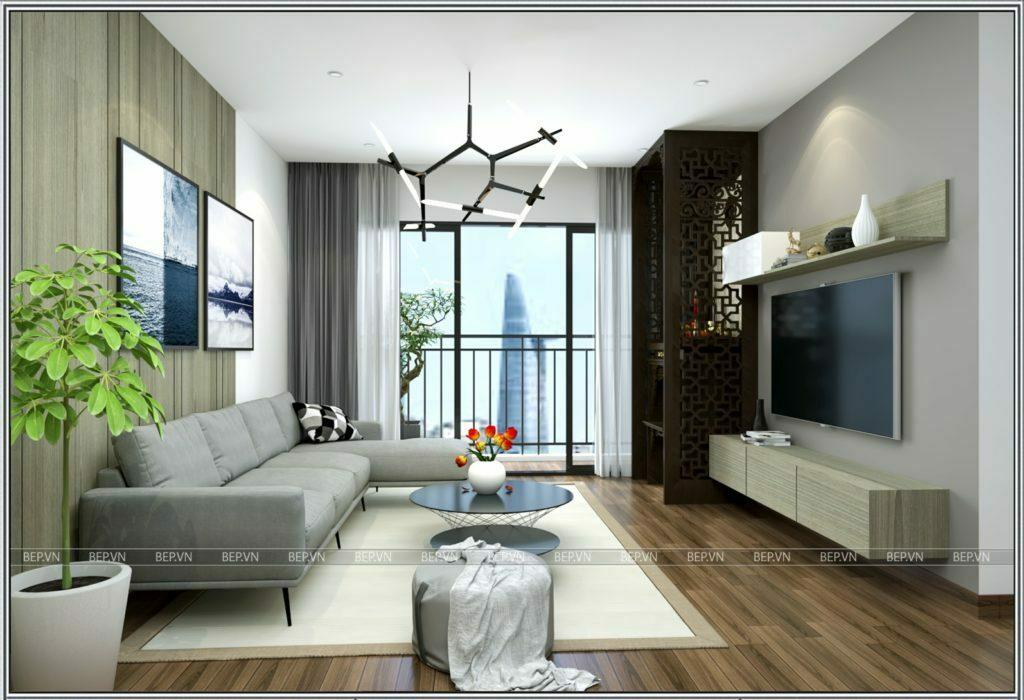thiết kế nội thất phòng khách đơn giản, hiện đại