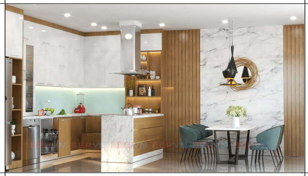tủ bếp lựa chọn kết hợp hai chất liệu phủ mặt acrylic và laminate