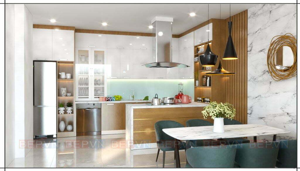 Điểm nhấn của thiết kế tủ bếp đến từ chiếc hút mùi và đèn trang trí