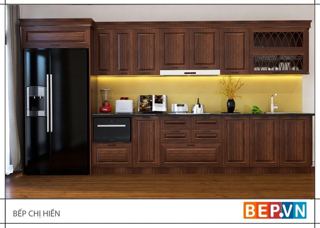 thiết kế phòng bếp đẹp theo phong cách của người Việt xưa với chất liệu gỗ tự nhiên