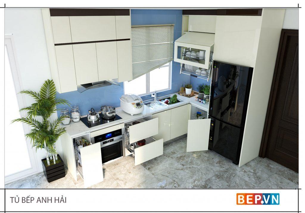 Lựa chọn gam màu sáng cho thiết kế phòng bếp đẹp với diện tích nhỏ