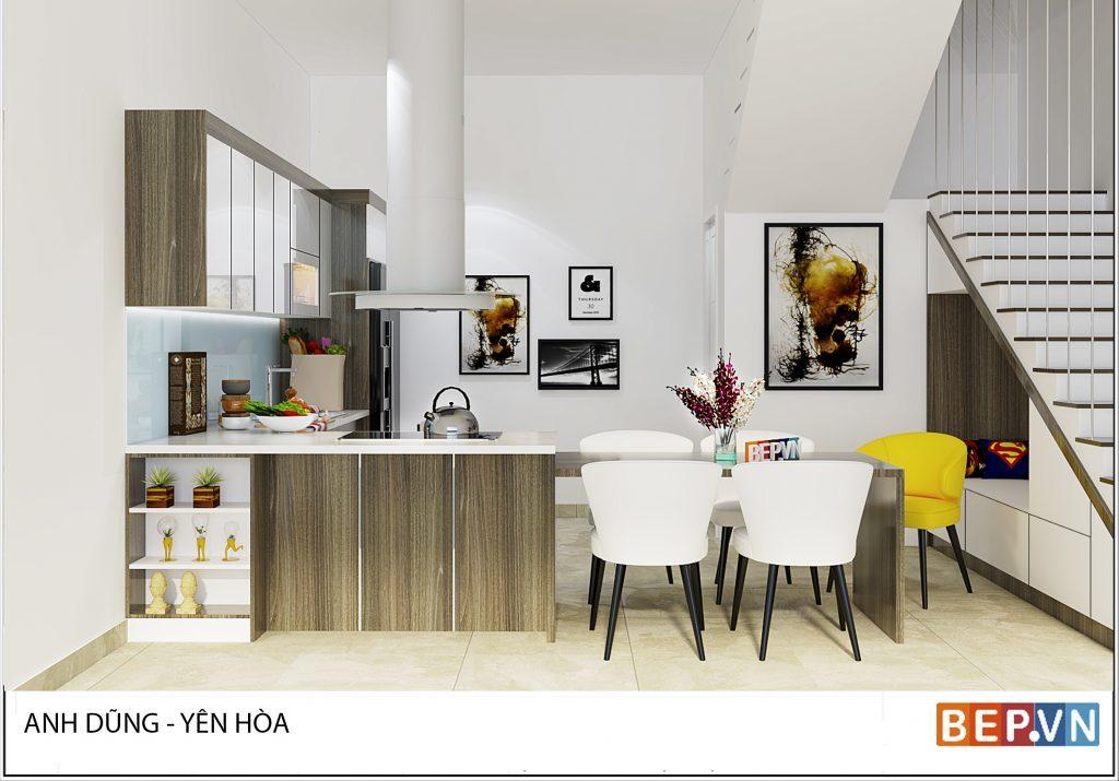 Thiết kế bàn đảo kết hợp bàn ăn phù hợp với không gian