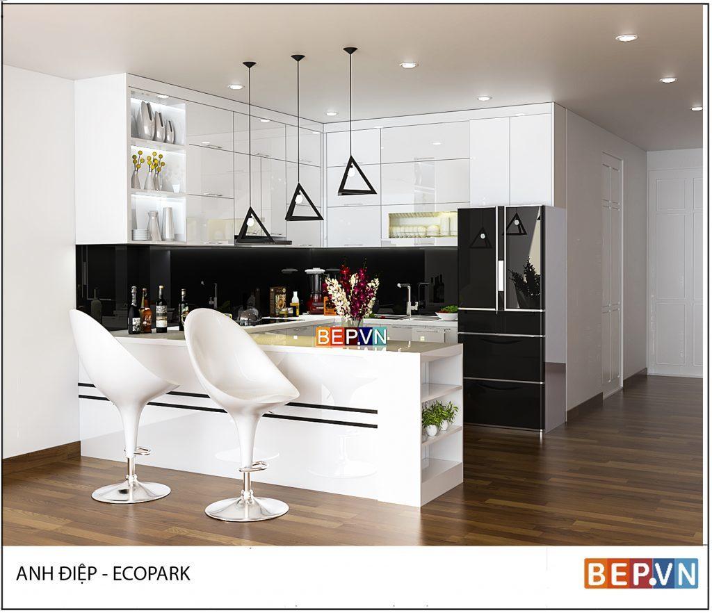 Lựa chọn gam màu trắng cho phòng bếp đẹp thanh lịch
