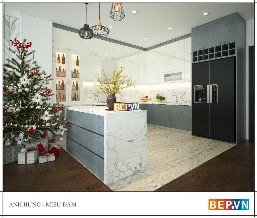 thiết kế phòng bếp đẹp kiểu chữ L kết hợp đảo bếp