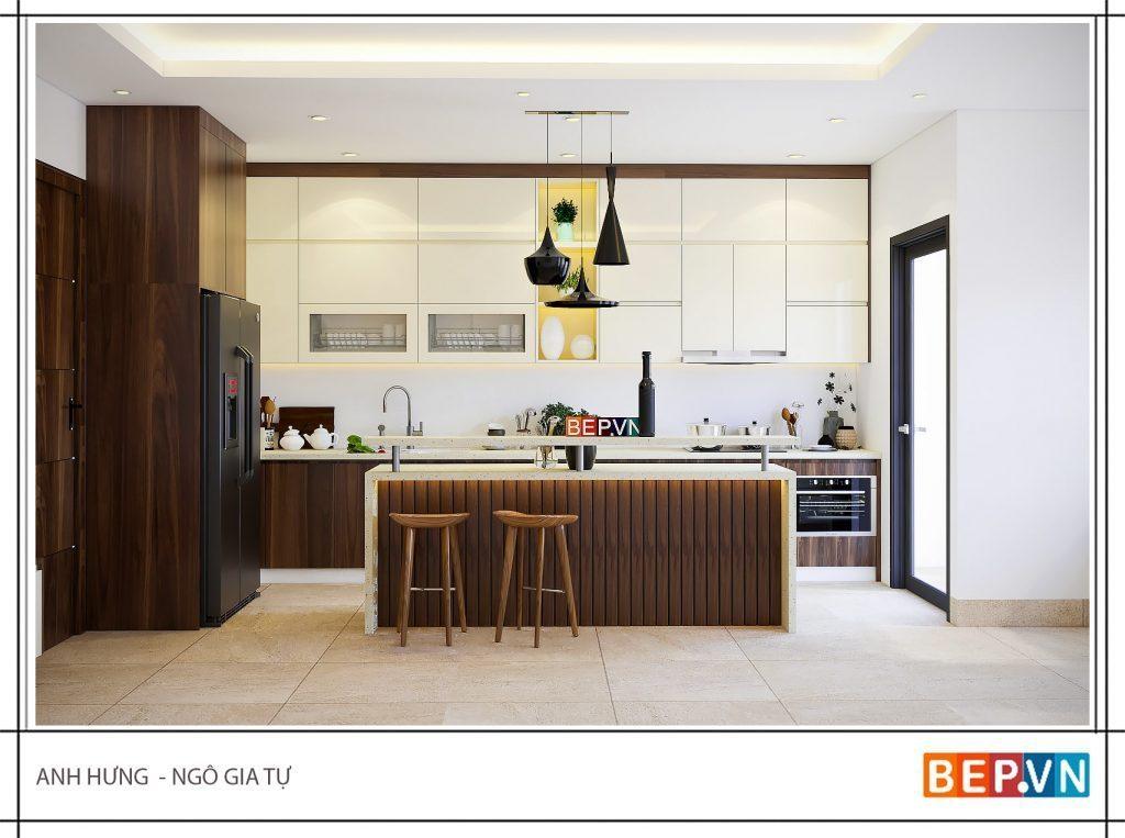 thiết kế tủ bếp kịch trần tối đa không gian lưu trữ và mang lại vẻ đẹp cho phòng bếp
