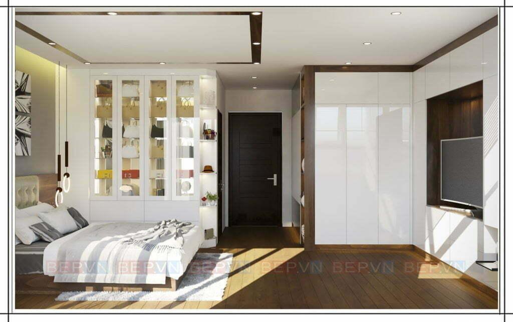 phòng ngủ chung cư được thiết kế thêm tủ kệ trang trí