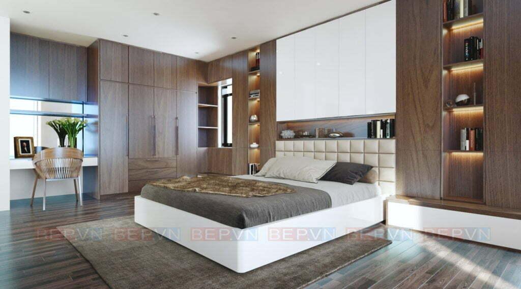 Chất liệu sử dụng cho thiết kế phòng ngủ chung cư là lamiante và acrylic
