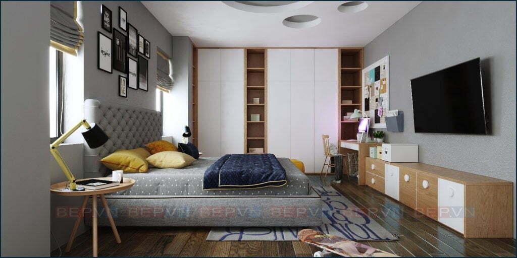 thiết kế phòng ngủ chung cư cho con trai ấn tượng, độc đáo