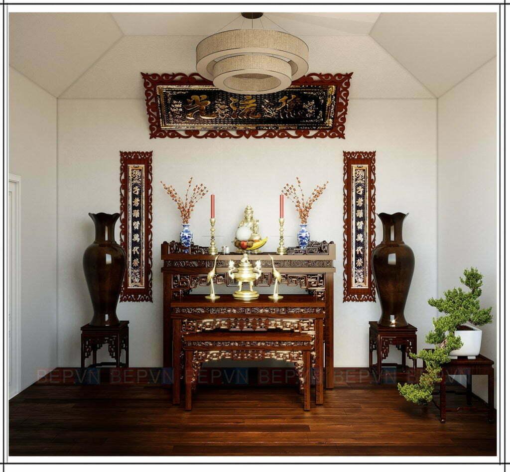 Trang trí thêm lọ hoa, lọ lục bình khi thiết kế phòng thờ Phật và tổ tiên