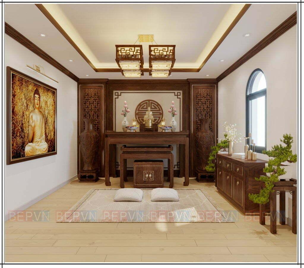 thiết kế phòng thờ Phật trang nghiêm có thêm ô cửa sổ