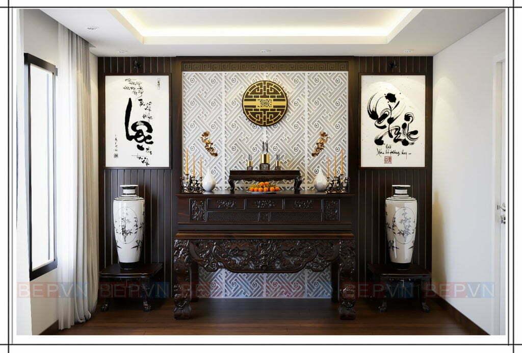 Lựa chọn chất liệu gỗ tự nhiên với gam màu trầm trạm khắc tinh tế cho tủ thờ