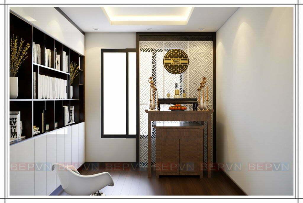 Thiết kế tủ sách và phòng thờ gia đình trong không gian yên tĩnh
