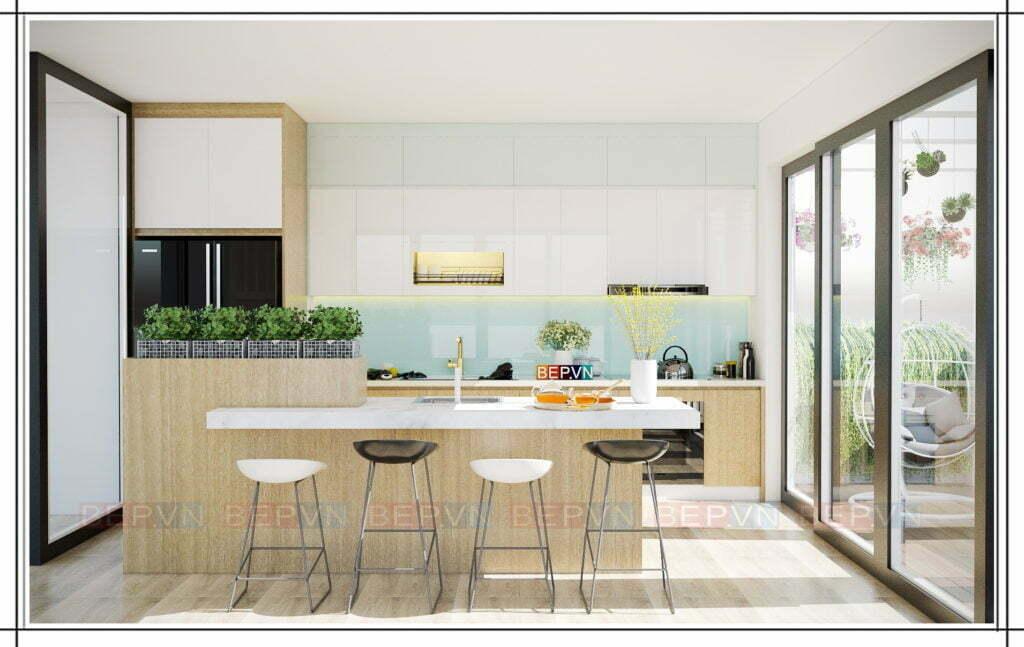 những chiếc ghế đẩu làm điểm nhấn cho thiết kế tủ bếp màu xanh