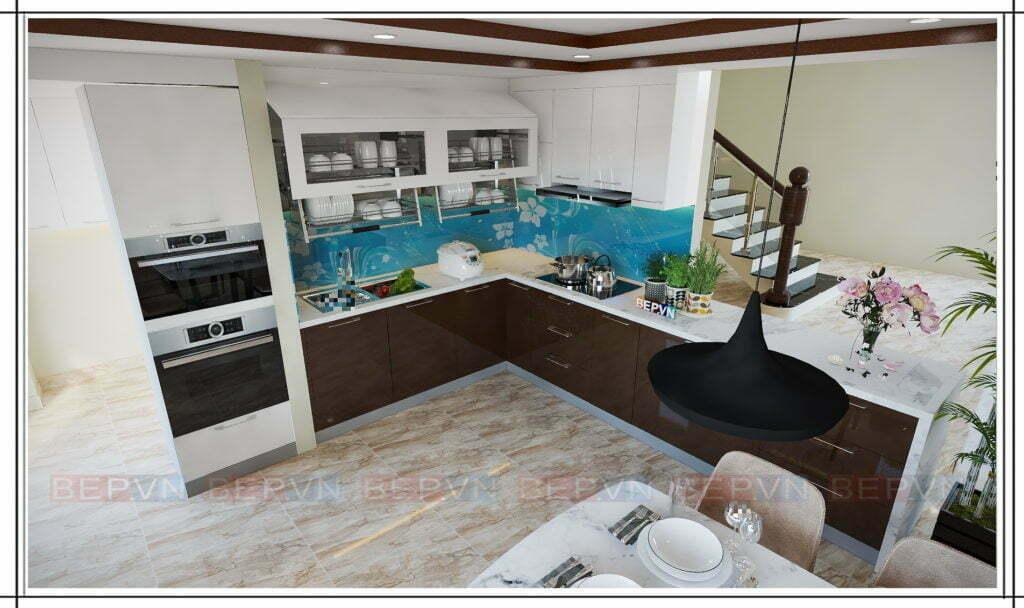 thiết kế tủ bếp kiểu chữ L đang được nhiều khách hàng lựa chọn và yêu thích