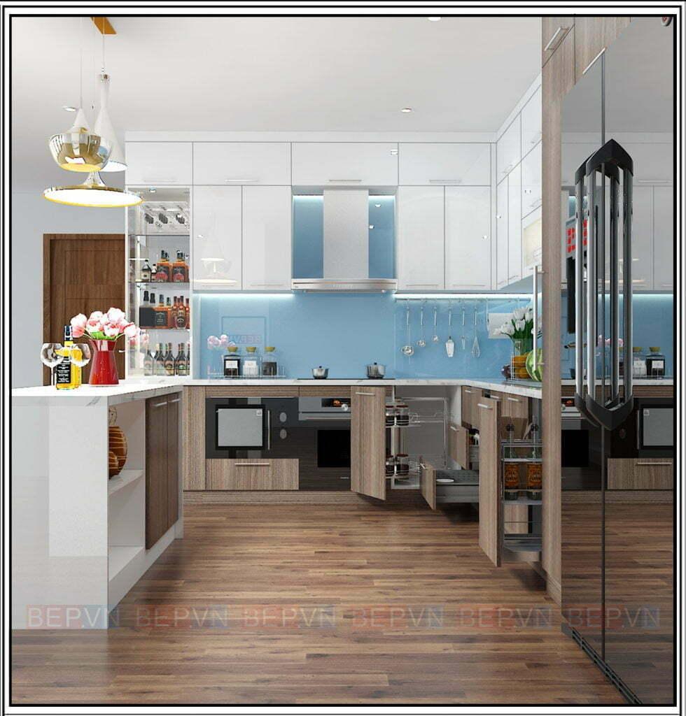 thiết kế tủ bếp với gam màu xanh làm chủ đạo