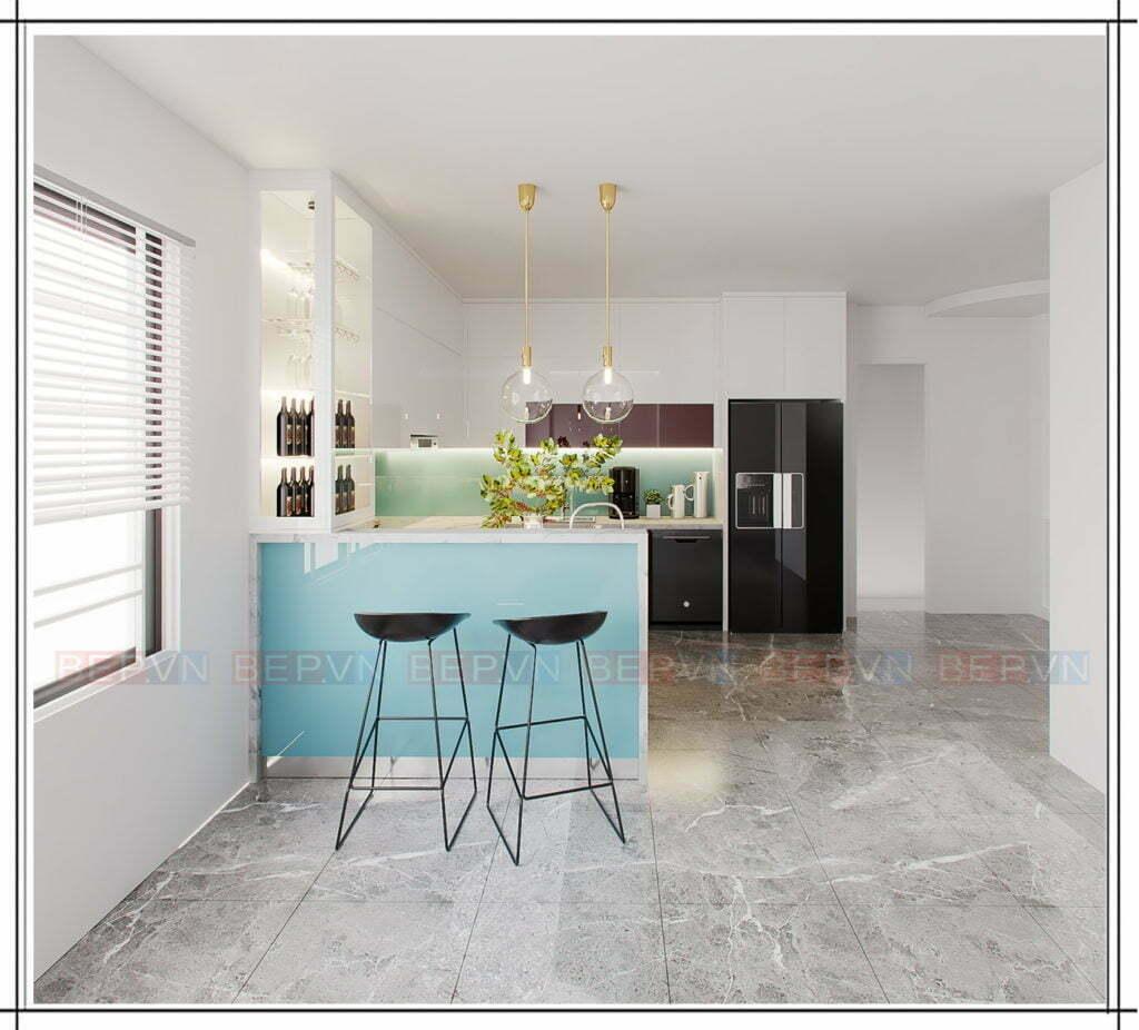 thiết kế đảo bếp màu xanh tươi mát với không gian phòng bếp